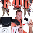 Montage of electrician — Stock Photo #10101340