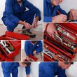 Collage of handyman with toolbox - Stock Photo