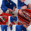 Stock Photo: Collage of handymwith toolbox