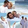 Montage of couple dressed in white at the beach — Stock Photo #10101427
