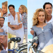 Couple enjoying bike ride by the coast — Stock Photo #10101475