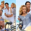 Couple enjoying bike ride by the coast - Stock Photo