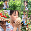 Mosaic of woman in vegetable garden — Stock Photo