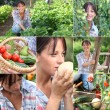Stock Photo: Mosaic of woman in vegetable garden