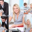 Collage of a young student — Stockfoto