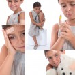 Stock Photo: Various images of girl wearing plasters