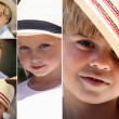 Foto Stock: Children wearing hats