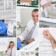 Mosaic of architect hard at work in his office - Stock Photo