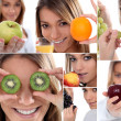 Montage of woman holding various fruits — Stock Photo