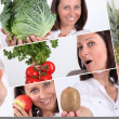 Stock Photo: Shots of beaming brunette with fruits and vegetables