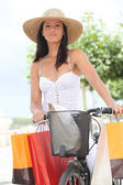 Woman with bodice and hat — Stock Photo