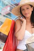 Bella donna shopping — Foto Stock