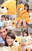 Mosaic of couple with cuddly toys — Stock Photo
