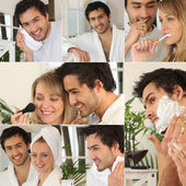 Montage of a couple in the bathroom — Stockfoto
