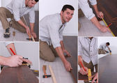 Montage on man laying laminate flooring — Stock Photo