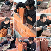 Collage of a bricklayer — Stock Photo