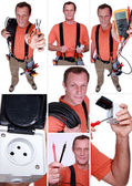 Montage of an electrician — Stock Photo