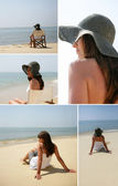Young woman with sun hat at beach — Stock Photo
