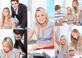 Collage of a young student — Stock Photo