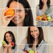 Collage of woman holding a variety of fruit — Stock Photo