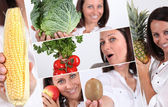 Shots of beaming brunette with fruits and vegetables — Stock Photo