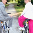 Biking for senior — Stockfoto