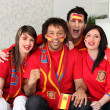 Spanish football fans at home — Stock Photo