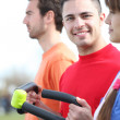 Three friends working out together outside — Stock Photo #10121550