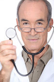 Closeup of a doctor with a stethoscope — Stock Photo