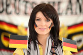 Brunette Germany supporter — Stock Photo