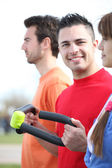 Three friends working out together outside — Stock Photo