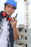 Foreman with radio on site — Stock Photo