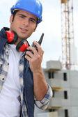 Foreman with radio on site — Stock Photo