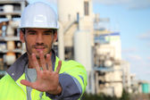 Foreman saying stop on site — Stock Photo