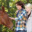 Stock Photo: Couple stroking horse