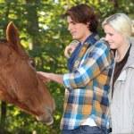 Couple stroking horse — Stock Photo #10152793