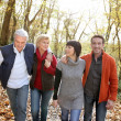 Happy foursome gone for a walk — Stockfoto #10153903