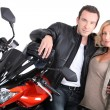 Biker couple close-up. — Stock Photo