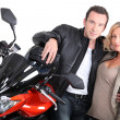 Biker couple close-up. - Stock Photo