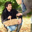 Couple picking chestnuts — Stock Photo