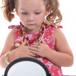 Stock Photo: Young girl playing with mommy's jewelry