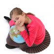 Little girl with globe — Stock Photo
