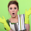 Woman house cleaning an having a bad surprise — Stock Photo