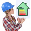 Stock Photo: Woman holding energy-rating poster