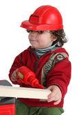 Petit garçon avec perceuse jouet faisant semblant d'être ouvrier — Photo
