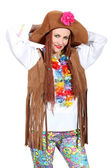 Hippie woman disguised — Stock Photo