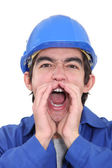 Laborer screaming — 图库照片