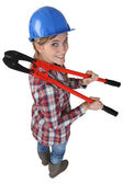 Woman with boltcutters — Stockfoto