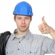 Portrait of electrician thumb up — Stock Photo