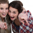 Stock Photo: Two friends pointing at the camera.